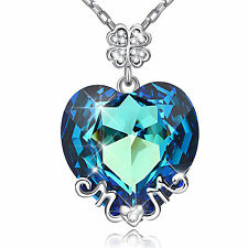 Blue Austrian Elemental Crystal Heart of the Ocean Pendant MOM Necklace Gift