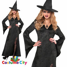 Womens Ladies Classic Black Witch Halloween Party Fancy Dress Costume