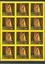 Bhutan 2012 Kunst Painting Gemälde G Klimt The Kiss Seide Stamps on Silk Rar MNH