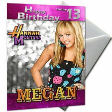 HANNAH MONTANA  - PERSONALISED  Birthday Card Large A5