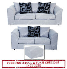 DYLAN-DARCY GREY 3 + 2 SEATER SOFA +FREE FOOTSTOOL+FREE DELIVERY