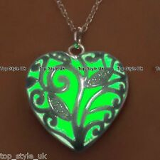 Green Glow in the Dark Heart Necklace Birthday Gift Best friend Daughter Sister