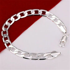 WHOLESALE MEN SOLID 925STERLING SILVER CHARM JEWELRY CHAIN BRACELET/ BANGLE XMAS