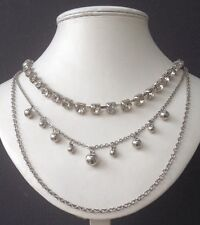 Wedding Party Prom Jewellery Shimmer Crystal Glass Silver Multi Strand Necklace