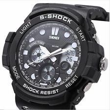 Men Sports Dual Movt Watch With Date Day Display Backlight Stopwatch watch