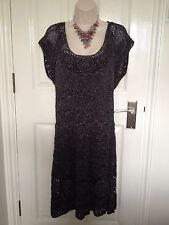 New Principles Silver Crochet Lined Cocktail Evening Dress Size Large 14-16 BNWT