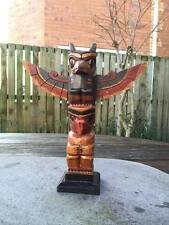 Totem Pole, Wooden Native American Indian Tribal Eagle Hand Carved  25cm