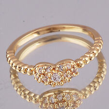 New Womens 18K Gold plated Rhinestone Heart Lady Rings Wedding Engagement Size 6