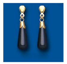 9ct Yellow Gold Real Onyx Bomb Drop Earrings Hallmarked British Made