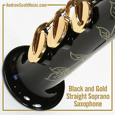 Black & Gold Straight Soprano Saxophone, New in Case - Masterpiece