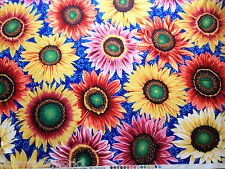 Sunflowers Cotton Fabric Metre Snow Leopard/Free Spirit Blue Floral Flowers 1m