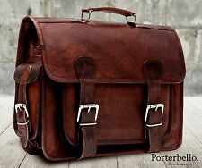 Medium Brown Vintage Style Handcrafted Leather Satchel Briefcase Laptop Bag