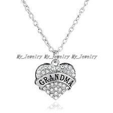 Clear Heart Grandma Jewelry Gifts Crystal Rhinestone Love Pendant Necklace Women