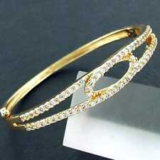 FS863 GENUINE 18K YELLOW G/F GOLD SOLID DIAMOND SIMULATED CUFF BANGLE BRACELET