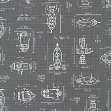 Robert Kaufman Cotton Fabric. Spaced Out. Rocket Blueprints in Grey. By the FQ