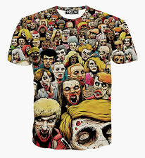 Popular Men Women's 3D Printed Zombie Parade Funny Short Sleeve T Shirt Top XL