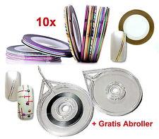 10x ZIERSTREIFEN für Nail-Art + GRATIS Abroller für Striping Tape Set sortiert
