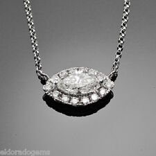 SOLITAIRE NECKLACE 1.70 CT. MARQUISE & ROUND DIAMOND PENDANT 14K WHITE GOLD 16""