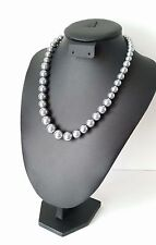 "Stunning 18"" long silver - grey coloured graduated glass bead necklace * NEW *"