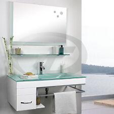 Badmöbel Badezimmer Möbel Set ZARAGOSSA Waschbecken Armatur Spiegel Weiß