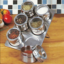 6Pcs Kitchen Stainless Steel Magnetic Spice Jars + Stainless Trestle Rack