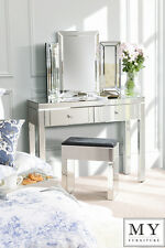 MADISON 2 Drawer Mirrored Dressing Table Console, Venetian Style, 4 Legs
