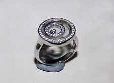 Near New Happy Spirit 18kt White Gold Dual Circle Pave Diamond Ring Chopard