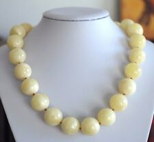 107 gr Baltic sea Amber round beads necklace Royal Milky White rare German gift