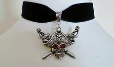 Black Velvet Red Eyed Pirate Choker Gothic Wicca Necklace Pagan Halloween