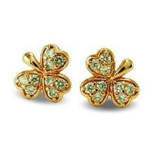 Clover Leaf Shape White CZ Stud Earrings 9ct Rose Gold Filled Womens Girls BE859