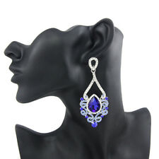 GORGEOUS WHITE GOLD PLATED BLUE AUSTRIAN CRYSTAL LONG DANGLE STATEMENT EARRINGS