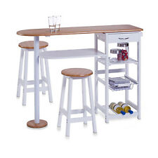 Breakfast Bar Table and Stools Set of 3Pcs Including 2 Stools & 1 Breakfast Bar