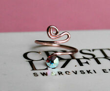 Rose Gold Toe Ring made with Clear Aurora Borealis Swarovski Crystal Elements