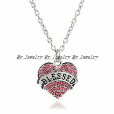 Women Party Gifts Hot Crystal Pink Heart Blessed Words Pendant Necklace Jewelry
