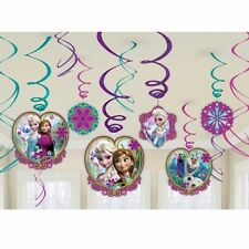 DISNEY FROZEN SWIRLS HANGING DECORATION PACK OF 12 FEATURES ANNA ELSA OLAF