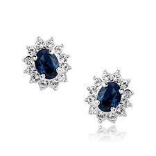 GORGEOUS 18K WHITE GOLD PLATED SAPPHIRE BLUE SWAROVSKI CRYSTAL CLIP-ON EARRINGS