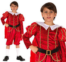Childrens Tudor Prince Costume Medieval Book Week Day Fancy Dress Outfit L