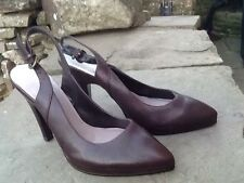"""DUNE - BRAND NEW - SLING BACK BROWN REAL LEATHER UPPERS 1/2""""  PLATFORM - SIZE 4"""