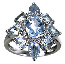 Sterling Silver 3.00 Ct tw Aquamarine Gemstone ring size 6