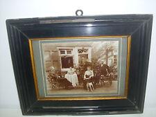 Großes Foto*Familienidylle*um 1900 beschriftet im Schellack-Bilderrahmen SHABBY