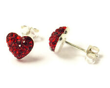 925 Sterling Silver Red Crystal Studded Shamballa Heart Stud Earring