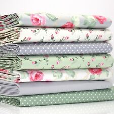 FQ x 7 Bundle ASCOT ROSE / ROSEBUD & DOT 100% COTTON FABRIC grey green ivory