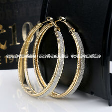 Women Fashion Rhinestone Crystal Diamante Gold Hoop Round Earrings Jewellery