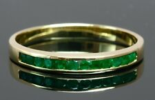 Natural Round Emerald Solid 18k Yellow Gold Wedding Anniversary Band Ring Size T