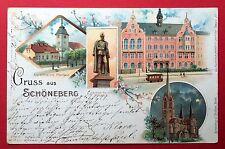 Litho AK BERLIN Schöneberg 1899 Rathaus mit Strassenbahn  ( 4044