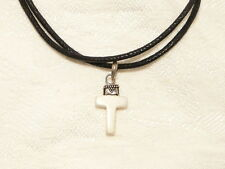 "WHITE HOWLITE CROSS PENDANT, GENUINE 925 STERLING SILVER CAP,   ""new"" AUZ SELLER"