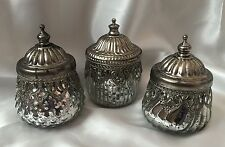 Set of 3 Vintage Lace Trinket Boxes Antique Silver Shabby Chic