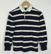 VINTAGE RETRO URBAN TOMMY HILFIGER STRIPED RUGBY SHIRT TOP UK XS