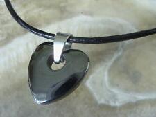 Hämatit Herz m.2 mm Lederkette Lederband schwarz 45 cm mit Steckverschluss