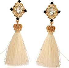 White Tassel Gold Tone Vintage Stud Dangle Earrings UK Shop